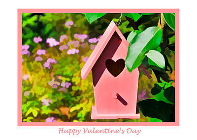 Photograph - Pink Birdhouse Valentine's Card by Ginger Wakem