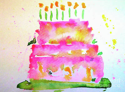 Wall Art - Painting - Pink Birthday Cake by Claire Bull