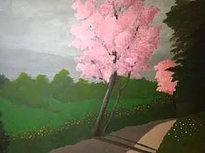 Oneal Painting - Pink Blossom Road by James ONeal