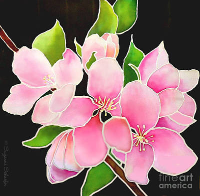 Tapestry - Textile - Pink Blossoms On Silk by Suzanne Schaefer