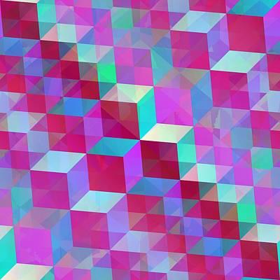 Pink Blue Crystals Art Print