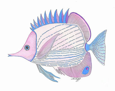 Painting - Pink Blue Fish by Stephanie Troxell