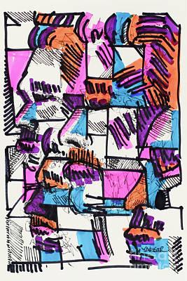 Drawings Royalty Free Images - Pink Blue Orange Royalty-Free Image by Robert Yaeger