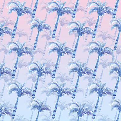 Painting - Pink Blue Palm Tree Grove by Ekaterina Chernova
