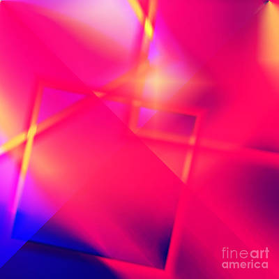 Digital Art - Pink Blue Shiny Abstract by Susan Stevenson