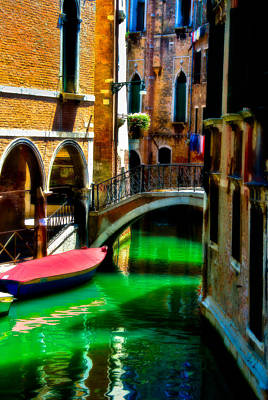 Photograph - Pink Boat And Canal by Harry Spitz
