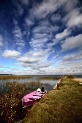 Pink Boat In Scenic Saskatchewan Art Print