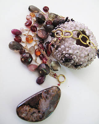 Adove Jewelry - Pink Boulder Opal And Mixed Gemstone Splash Necklace by Adove  Fine Jewelry