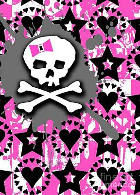 Pink Bow Skull Art Print by Roseanne Jones
