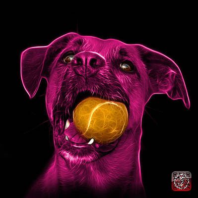 Digital Art - Pink Boxer Mix Dog Art - 8173 - Wb by James Ahn