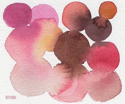 Abstract Artist Painting - Pink Brown Coral Abstract Watercolor by Beverly Brown