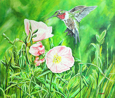 Pink Buttercups And Hummingbird Original by Karl Wagner