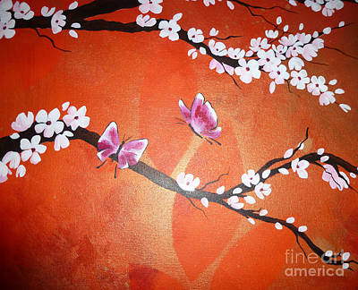 Pink Butterflies And Cherry Blossom Art Print