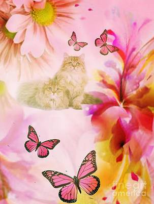 Digital Art - Pink Butterflies by Maria Urso