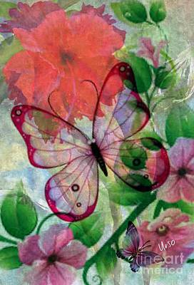 Digital Art - Pink Butterfly by Maria Urso