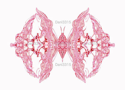 Abstract Digital Art - Pink Butterfly Over Soft Light Background by Dani Prints and Images