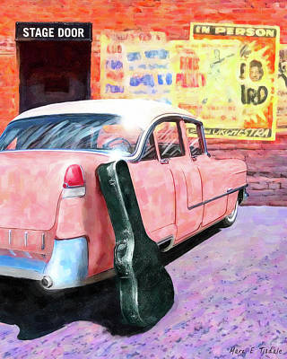 Art Print featuring the digital art Pink Cadillac At The Stage Door by Mark Tisdale