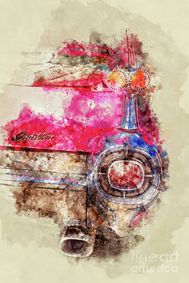 Painting - Pink Cadillac - Back by Delphimages Photo Creations