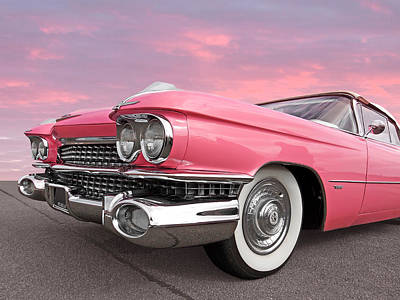 Photograph - Pink Cadillac Sunset by Gill Billington