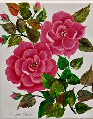 Painting - Pink Camellias by Fram Cama