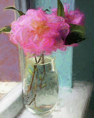 Photograph - Pink Camellias In Vase by Rebecca Korpita