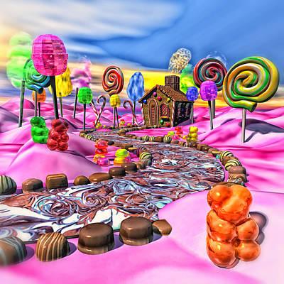 Gummy Digital Art - Pink Candyland by Bonnie Phantasm
