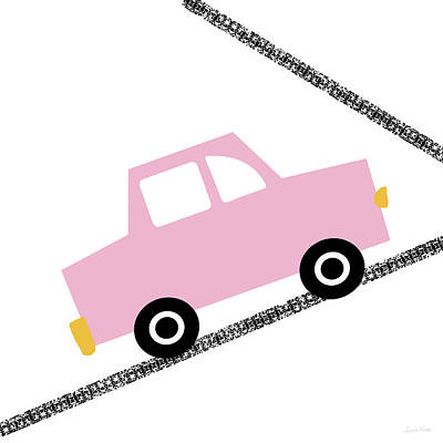 Juvenile Wall Decor Digital Art - Pink Car On Road- Art By Linda Woods by Linda Woods