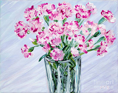 Pink Carnations In A Vase. For Sale Art Print