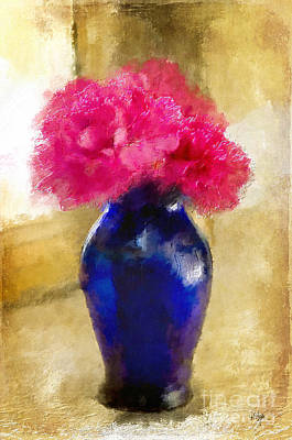 Photograph - Pink Carnations In Cobalt Blue Vase by Lois Bryan