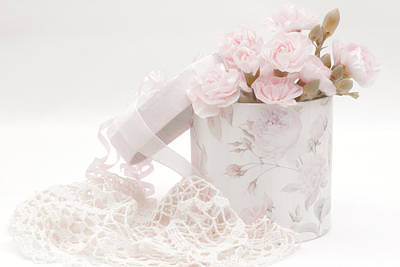 Floral Loveliness Photograph - Pink Carnations In Rose Box by Sandra Foster
