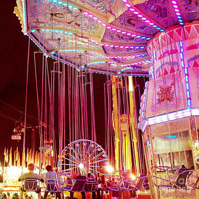Festivals Fairs Carnival Photograph - Pink Carnival Festival Ferris Wheel Night Ride - Carnival Rides - Night Light Carnival Art by Kathy Fornal