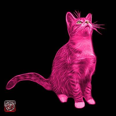 Painting - Pink Cat Art - 3771 Bb by James Ahn