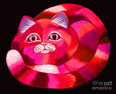 Cats Drawing - Pink Cat by Nick Gustafson