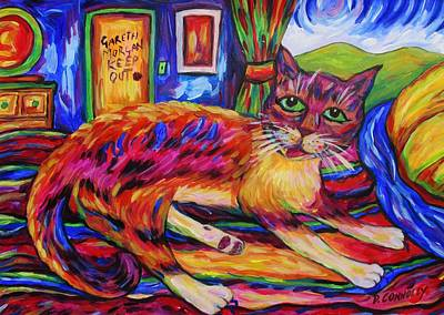 Painting - Pink Cat On Quilt by Dianne  Connolly