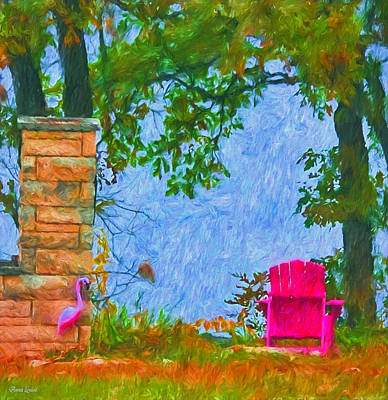 Photograph - Pink Chair And Flamingo by Anna Louise