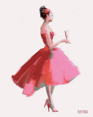 1950s Fashion Painting - Pink Champagne Fashion Art by Beverly Brown