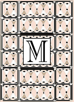 Letter M Digital Art - Pink Champagne Deco Monogram  M by Cecely Bloom