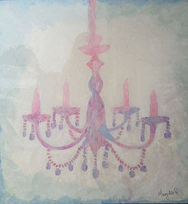 Painting - Pink Chandelier by Margalit Romano