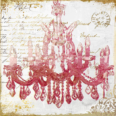 Ballroom Painting - Pink Chandelier by Mindy Sommers