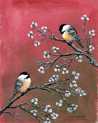 Pink Chickadees Art Print by Kathleen McDermott