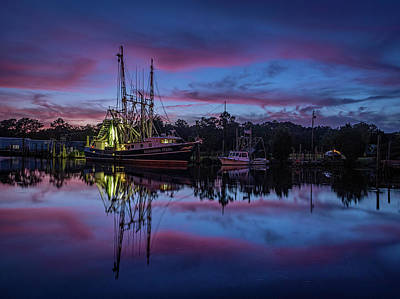 Photograph - Pink Clouds Frame A Shrimp Boat by Brad Boland