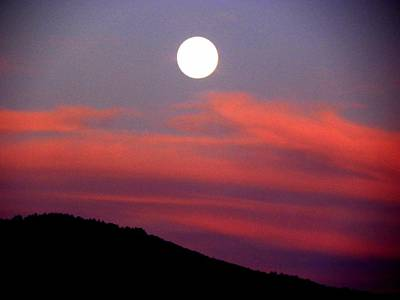 Art Print featuring the photograph Pink Clouds With Moon by Joseph Frank Baraba