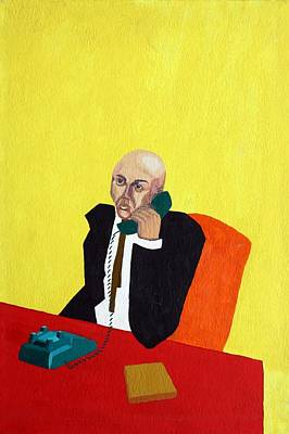 Cubicle Painting - Pink Collar Man by Sheri Buchheit