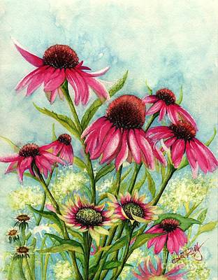 Flora And Fauna Painting - Pink Coneflowers by Janine Riley