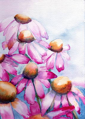 Painting - Pink Coneflowers by Marsha Woods