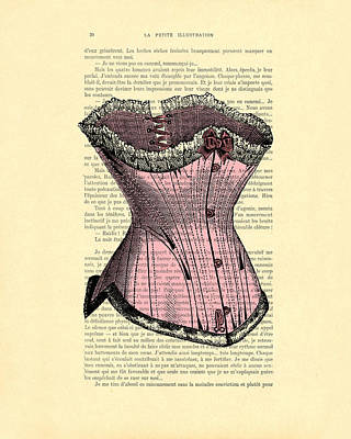 Edwardian Woman Digital Art - Pink Corset On Dictionary Book Page by Madame Memento