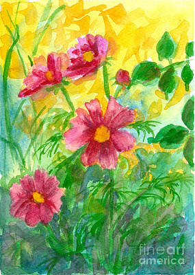 Painting - Pink Cosmos Golden Light by Cathie Richardson