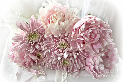 Carnations Photograph - Pink Cottage Chic Romantic Carnations Peonies Bouquet - Romantic Pink Peonies Cottage Floral Decor by Kathy Fornal