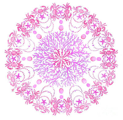 Mandala Painting - Pink Crab Mandala by Stephanie Troxell