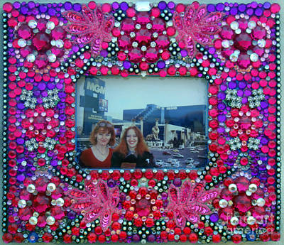 Beadwork Mixed Media - Pink Frame With Rhinestones by Sofia Metal Queen